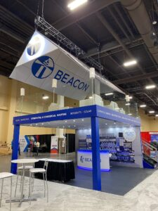 Double decker trade show booth from Beacon Building Products at International Roofing Expo IRE 2021 in Las Vegas Nevada